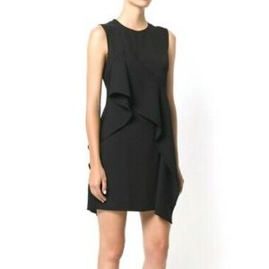 DVF Recent Tag Black Ruffle Front Mini Dress 14